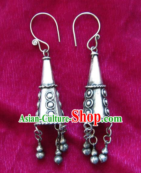 Traditional Chinese Miao Sliver Trumpet Earrings Ornaments Hmong Sliver Carving Eardrop for Women