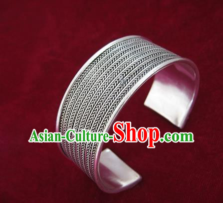 Handmade Chinese Miao Sliver Ornaments Wide Bracelet Traditional Hmong Sliver Bangle for Women