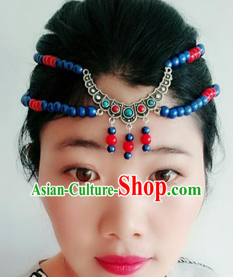 Chinese Traditional Mongol Stage Performance Tassel Hair Accessories, Mongolian Folk Dance Blue Beads Hair Clasp Headwear for Women