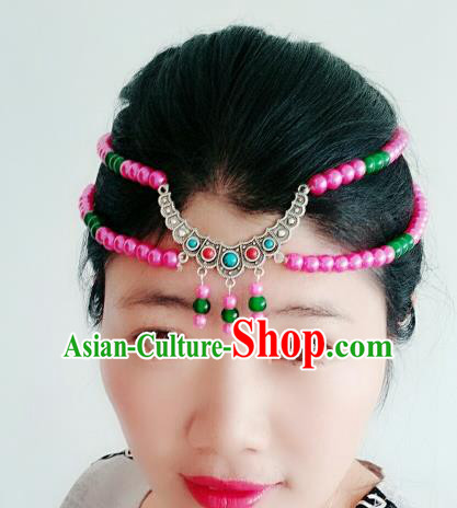 Chinese Traditional Mongol Stage Performance Pink Beads Tassel Hair Accessories, Mongolian Folk Dance Hair Clasp Headwear for Women