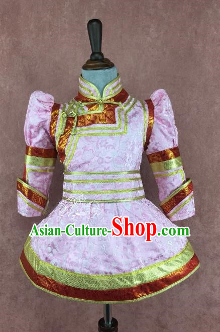 Chinese Traditional Mongol Nationality Pink Clothing, China Mongolian Minority Folk Dance Ethnic Costume for Kids