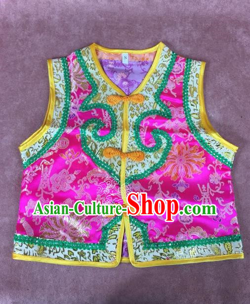 Chinese Traditional Mongol Nationality Pink Vest, China Mongolian Minority Folk Dance Waistcoat Ethnic Costume for Kids