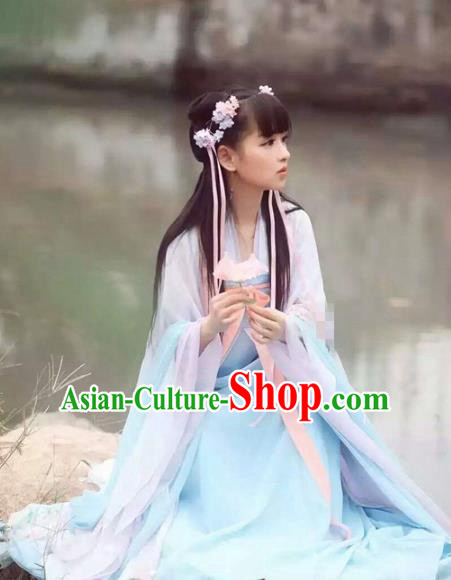 Chinese Ancient Fairy Chang E Hanfu Dress Tang Dynasty Princess Costumes Complete Set