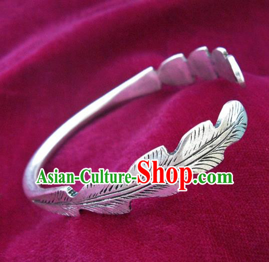 Handmade Chinese Miao Nationality Carving Feather Bracelet Traditional Hmong Sliver Bangle for Women
