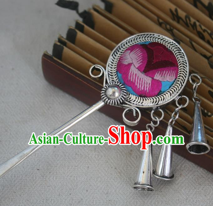 Traditional Chinese Miao Nationality Embroidered Hair Clip Hanfu Sliver Hairpins Hair Accessories for Women