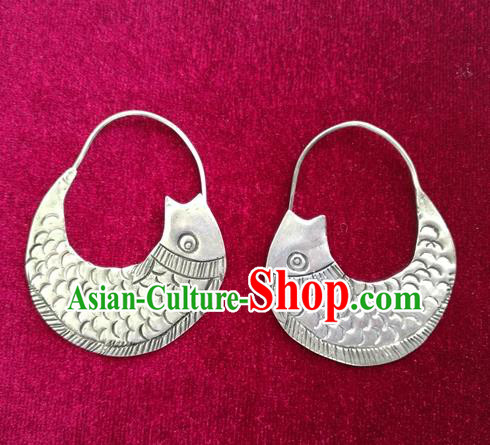 Traditional Chinese Miao Sliver Fishes Earrings Hmong Ornaments Minority Eardrop for Women