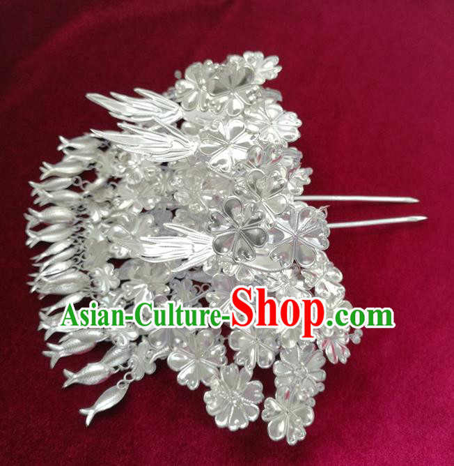 Traditional Chinese Miao Nationality Wedding Hair Clip Hanfu Sliver Hairpins Hair Accessories for Women