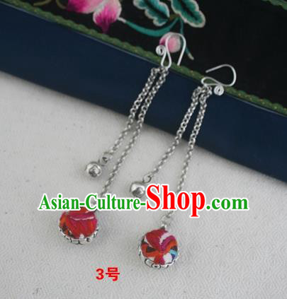 Traditional Chinese Miao Sliver Embroidered Earrings Hmong Ornaments Minority Headwear for Women