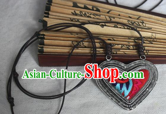Traditional Chinese Miao Sliver Embroidered Red Necklace Hmong Ornaments Minority Sweater Chain for Women