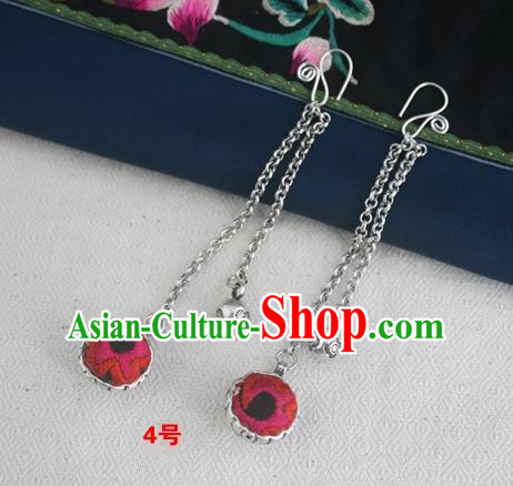 Traditional Chinese Miao Sliver Embroidered Rosy Earrings Hmong Ornaments Minority Headwear for Women