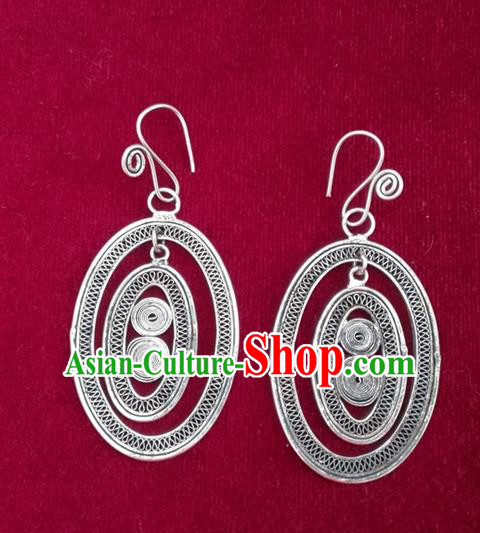 Traditional Chinese Miao Sliver Oval Earrings Hmong Ornaments Minority Headwear for Women