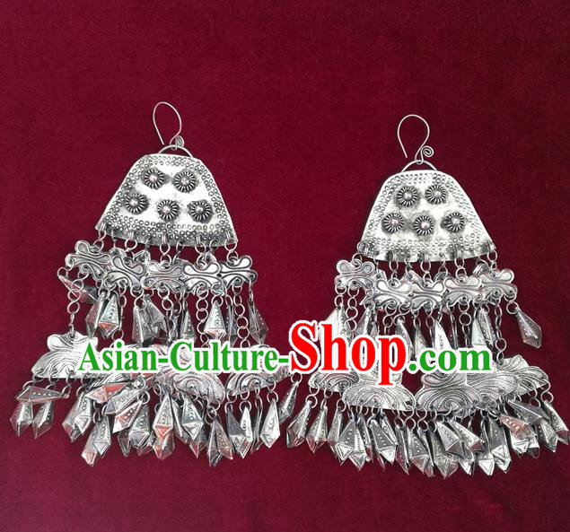 Traditional Chinese Miao Sliver Tassel Earrings Hmong Ornaments Minority Headwear for Women