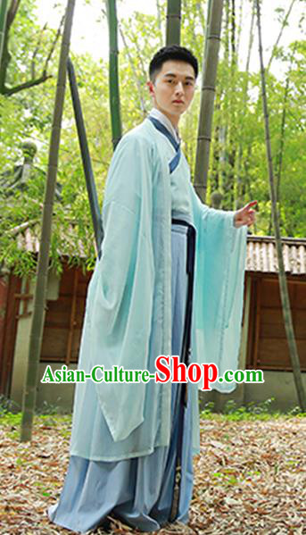 Chinese Ancient Scholar Hanfu Jin Dynasty Swordsman Costumes for Men
