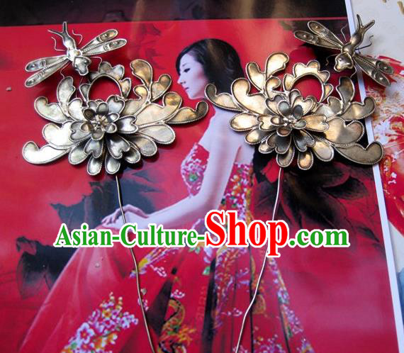 Chinese Traditional Miao Nationality Hair Accessories Miao Sliver Dragonfly Hairpins Headwear for Women