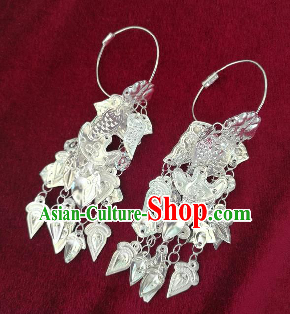 Chinese Traditional Miao Sliver Earrings Hmong Ornaments Accessories Minority Eardrop for Women