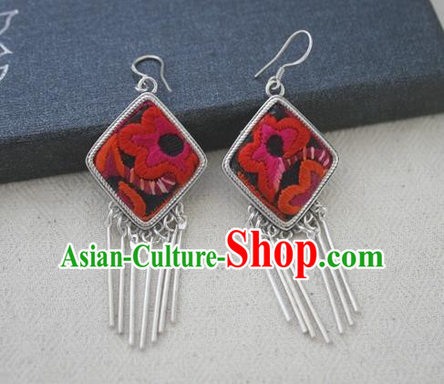 Chinese Traditional Miao Sliver Earrings Hmong Ornaments Accessories Minority Embroidered Red Flower Eardrop for Women