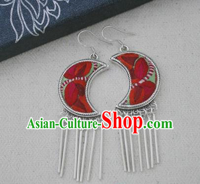 Chinese Traditional Miao Sliver Moon Earrings Hmong Ornaments Accessories Minority Embroidered Eardrop for Women