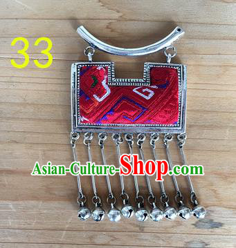 Chinese Traditional Miao Sliver Ornaments Accessories Red Longevity Lock Minority Necklace Pendant for Women