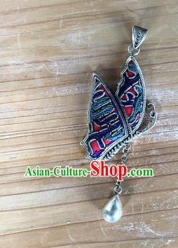 Chinese Traditional Miao Sliver Embroidered Hmong Ornaments Accessories Minority Butterfly Necklace Pendant for Women