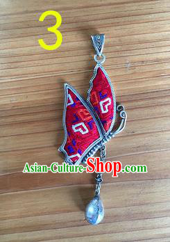 Chinese Traditional Miao Sliver Embroidered Hmong Ornaments Accessories Minority Rosy Butterfly Necklace Pendant for Women