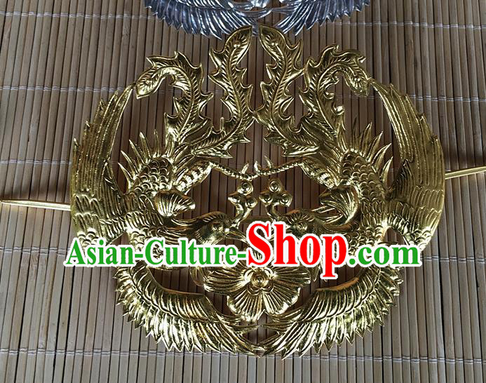 Traditional Chinese Miao Nationality Wedding Golden Phoenix Hair Coronet Hairpins Hair Accessories for Women