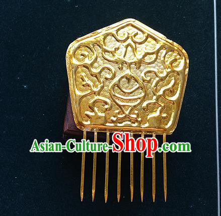 Traditional Chinese Miao Nationality Hair Accessories Golden Hair Comb Hairpins for Women