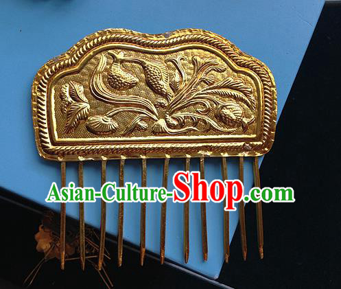 Traditional Chinese Miao Nationality Hair Accessories Palace Golden Hair Comb Hairpins for Women