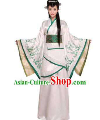Traditional Chinese Han Dynasty Imperial Concubine Costume Ancient Princess White Hanfu Dress for Women