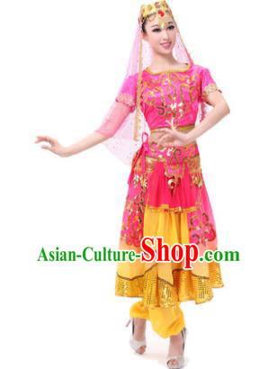 Traditional Chinese Xinjiang Uyghur Nationality Rosy Dress, Uigurian Minority Folk Dance Ethnic Costume for Women