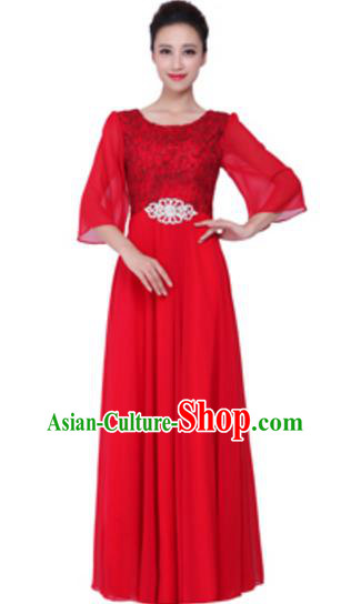 Top Grade Chorus Singing Group Red Lace Full Dress, Compere Stage Performance Modern Dance Costume for Women