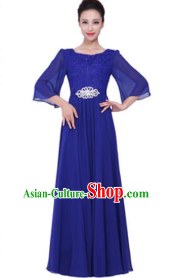 Top Grade Chorus Singing Group Royalblue Lace Full Dress, Compere Stage Performance Modern Dance Costume for Women