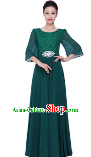 Top Grade Chorus Singing Group Green Lace Full Dress, Compere Stage Performance Modern Dance Costume for Women