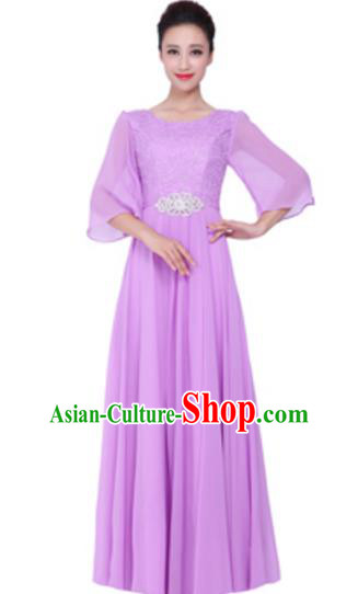 Top Grade Chorus Singing Group Lilac Lace Full Dress, Compere Stage Performance Modern Dance Costume for Women
