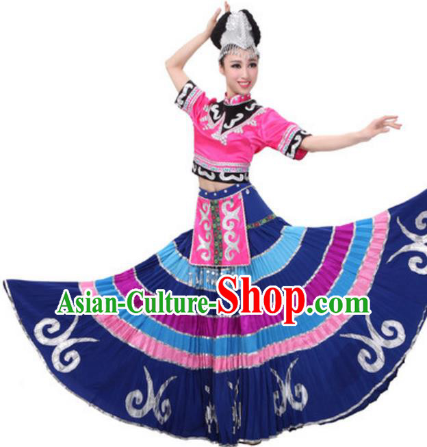 Traditional Chinese Yi Ethnic Dance Dress, China Yi Minority Folk Dance Costume and Headwear for Women