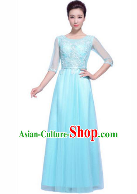 Top Grade Chorus Singing Group Beading Embroidery Blue Full Dress, Compere Stage Performance Modern Dance Costume for Women