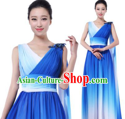 Traditional Chorus Singing Group Modern Dance Costume, Compere Classical Dance Blue Dress for Women