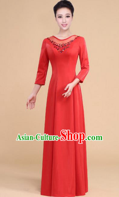 Top Grade Chorus Group Choir Red Full Dress, Compere Stage Performance Modern Dance Costume for Women