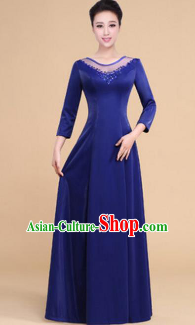 Top Grade Chorus Group Choir Royalblue Full Dress, Compere Stage Performance Modern Dance Costume for Women