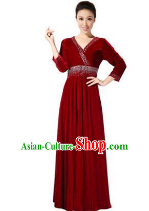 Traditional Chorus Singing Group Modern Dance Costume, Compere Classical Dance Red Velvet Dress for Women