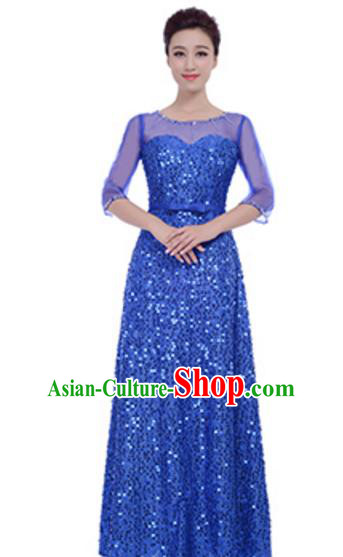 Top Grade Chorus Group Choir Royalblue Sequins Full Dress, Compere Stage Performance Modern Dance Costume for Women