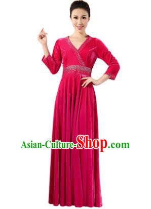 Traditional Chorus Singing Group Modern Dance Costume, Compere Classical Dance Rosy Velvet Dress for Women