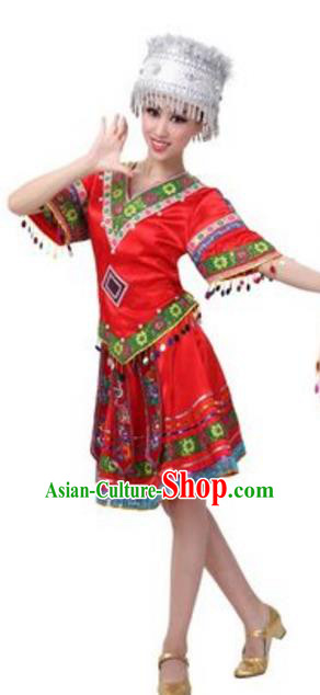 Traditional Chinese Miao Ethnic Dress, Hmong Minority Folk Dance Costume and Hat for Women