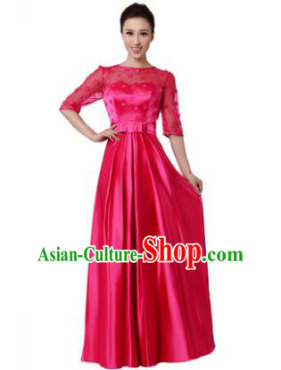 Top Grade Chorus Singing Group Modern Dance Rosy Dress, Compere Classical Dance Costume for Women