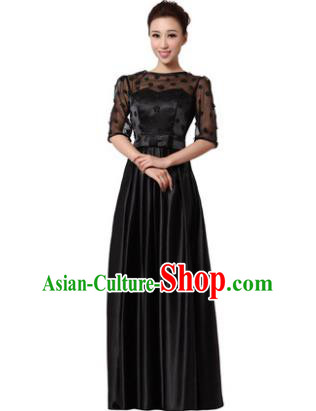Top Grade Chorus Singing Group Modern Dance Black Dress, Compere Classical Dance Costume for Women