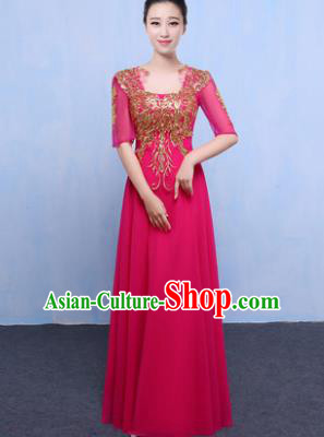 Top Grade Chorus Singing Group Modern Dance Embroidered Rosy Dress, Compere Classical Dance Costume for Women