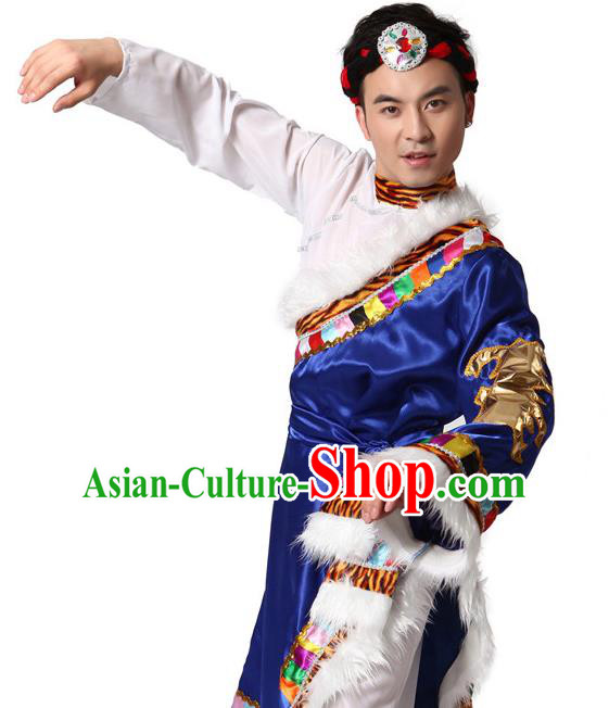 Traditional Chinese Zang Nationality Clothing, Tibetan Minority Folk Dance Ethnic Costume and Headpiece for Men