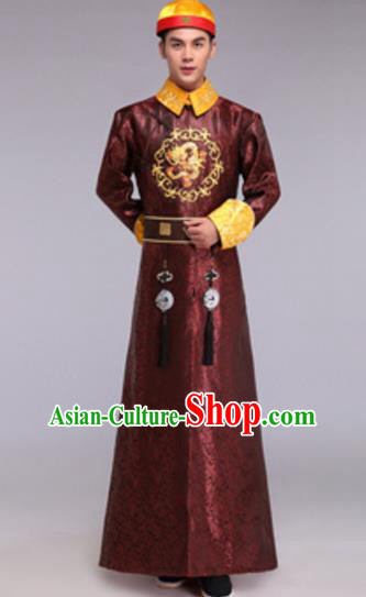 Traditional Chinese Ancient Manchu Prince Costume Qing Dynasty Infante Embroidered Robe for Men