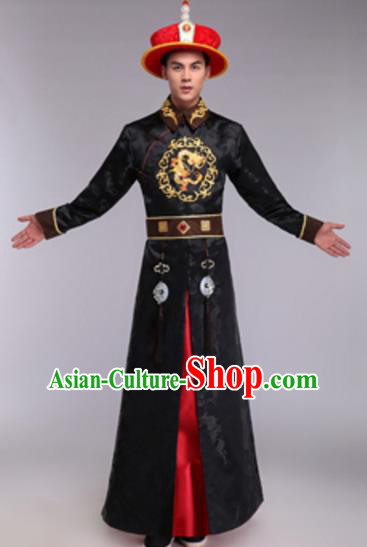 Traditional Chinese Ancient Manchu Prince Costume Qing Dynasty Infante Embroidered Black Robe and Hat for Men