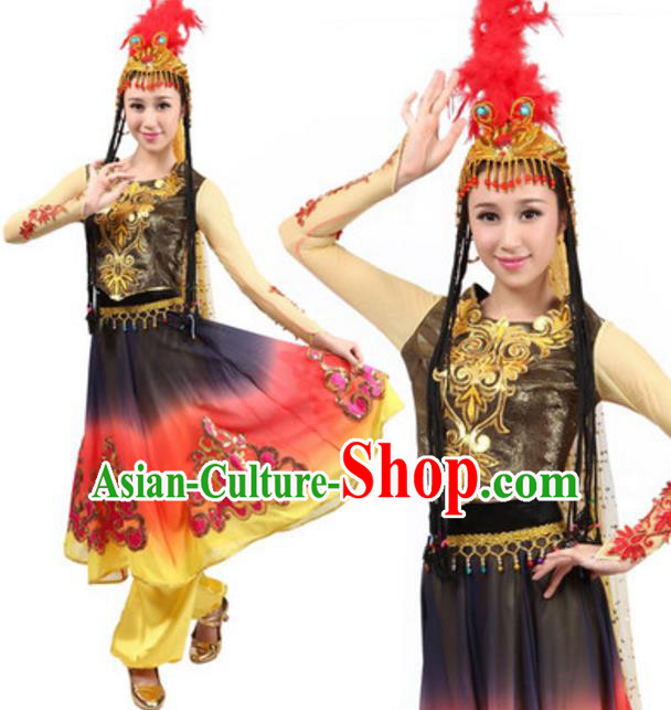Traditional Chinese Uigurian Nationality Clothing, Uyghur Minority Folk Dance Ethnic Costume for Women