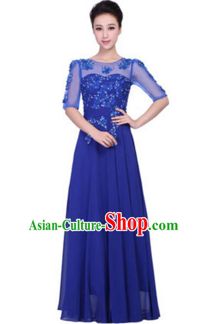 Top Grade Chorus Singing Group Embroidered Lace Full Dress, Compere Classical Dance Royalblue Costume for Women